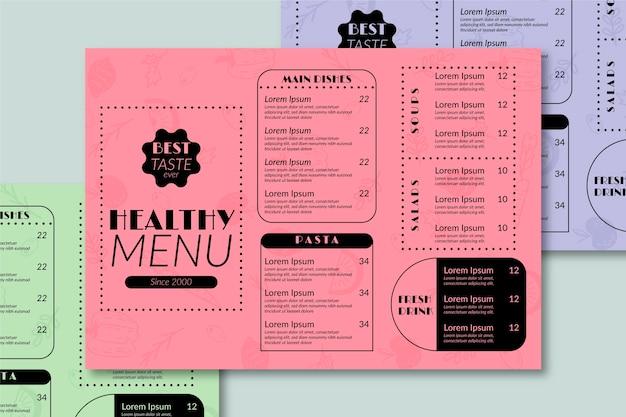 Одноцветное меню ресторана здоровой пищи