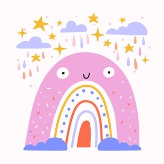 フラットなデザインのスマイリー虹のイラスト