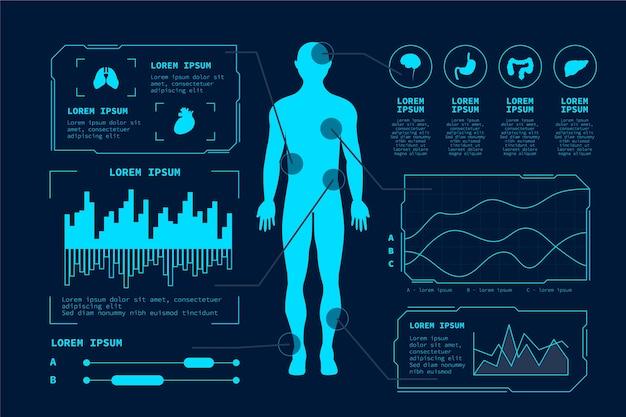 Футуристические технологии медицинской инфографики шаблон