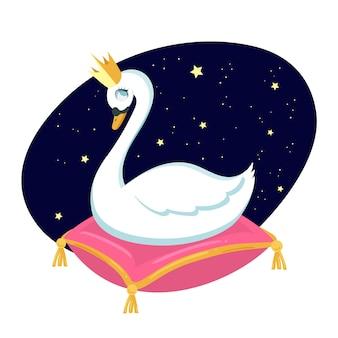 Лебедь принцессы иллюстрированный дизайн