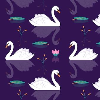 Художественный узор лебедя