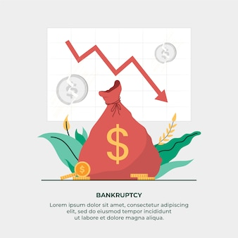 お金の袋で破産の概念