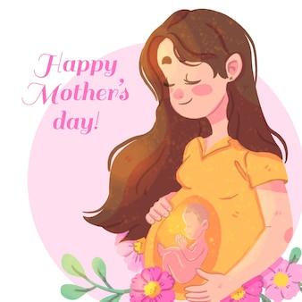 妊娠中の女性と幸せな母の日