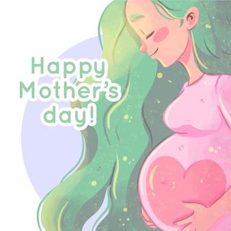 妊娠中の女性と水彩画の母の日