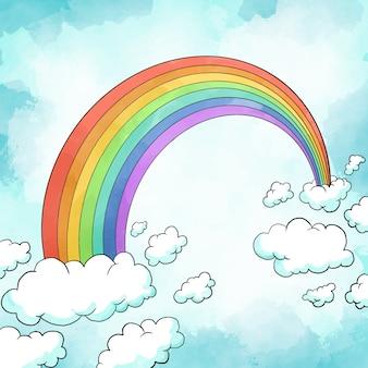 Акварельная радуга с облаками