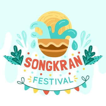 Рисованная концепция фестиваля сонгкран