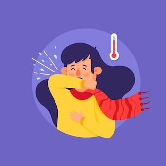 Кашель человека коронавирусной иллюстрации