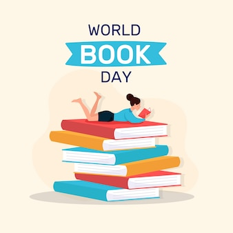 フラットなデザインの世界の本の日のテーマ
