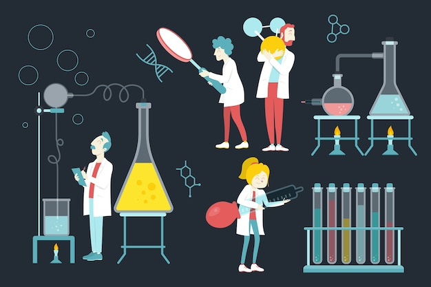 Ученый работает дизайн иллюстрации