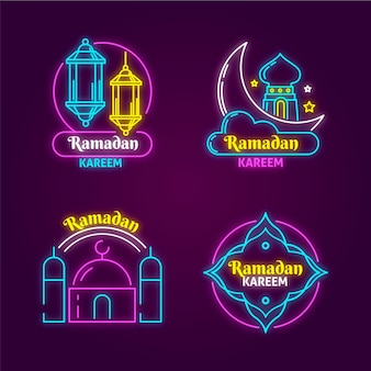 Рамадан неоновая вывеска дизайн коллекции