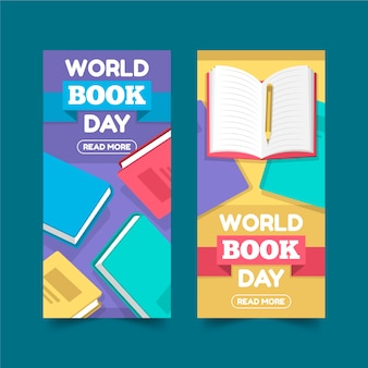 Баннеры всемирного дня книги в плоском дизайне