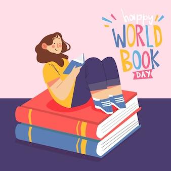 Всемирный день книги иллюстрация девушка, читающая