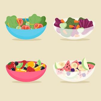 Пакет с фруктами и салатниками