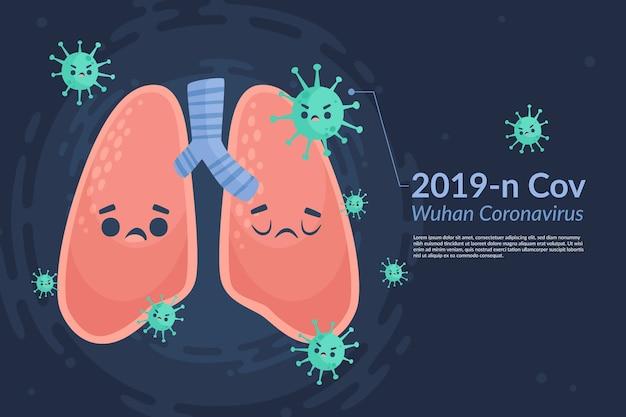 病気の肺を持つコロナウイルスの概念