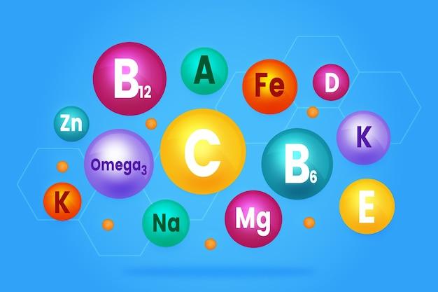 必須ビタミンとミネラルの複合体のコレクション