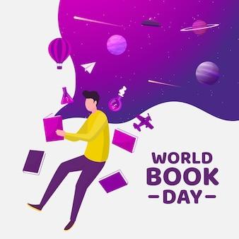 フラットなデザインの世界の本の日のコンセプト