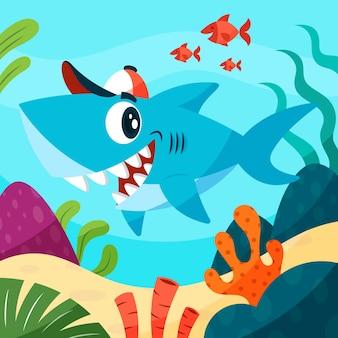 漫画のスタイルでかわいい赤ちゃんサメ
