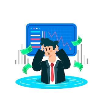 実業家と破産のコンセプト