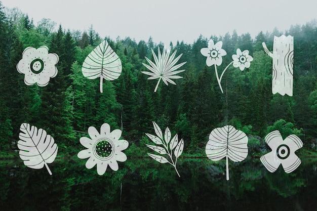 Коллекция листьев дизайн и зеленые деревья пейзаж