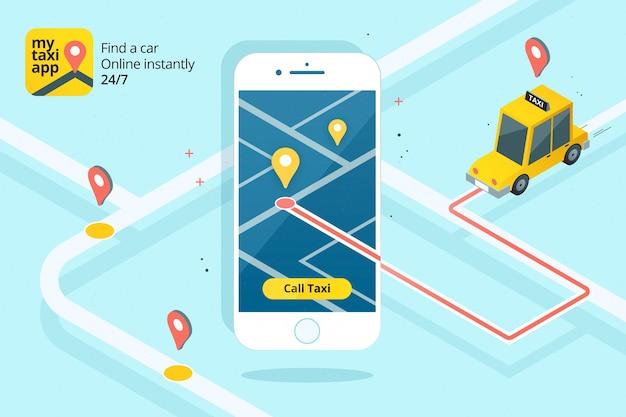 イラスト付きのタクシーアプリのインターフェース