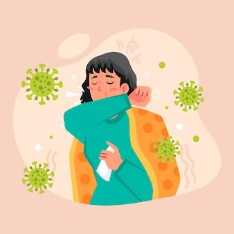 コロナウイルスで咳をする人