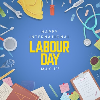フラットスタイルの労働者の日のお祝い
