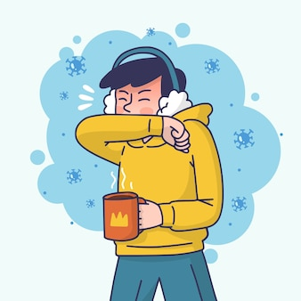 コロナウイルスで咳をする男性