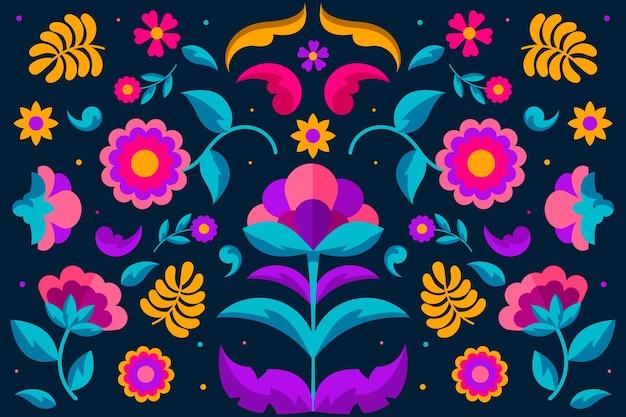 花の装飾品でカラフルなメキシコの壁紙