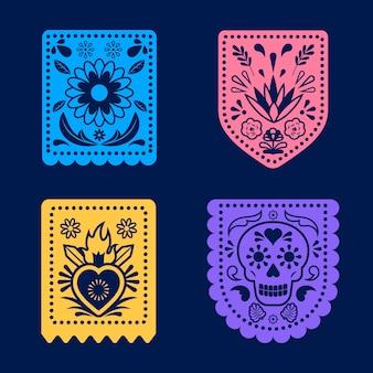 カラフルなメキシコの旗布のセット
