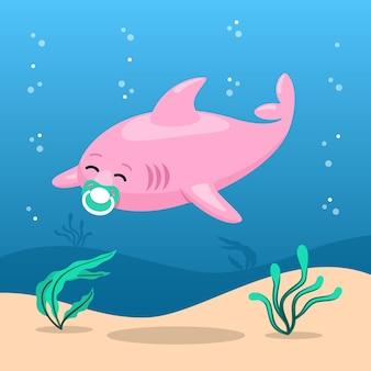 おしゃぶり付きフラットデザインベビーサメ