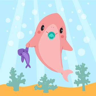 赤ちゃんサメフラットデザイン