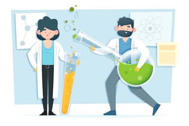 Ученый работает иллюстрации