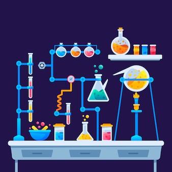 Плоский дизайн дизайн научной лаборатории