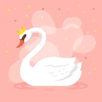 Лебедь принцесса дизайн иллюстрации