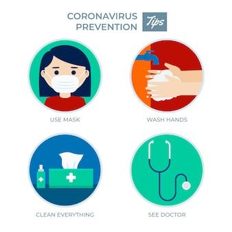 予防のためのコロナウイルスのヒント