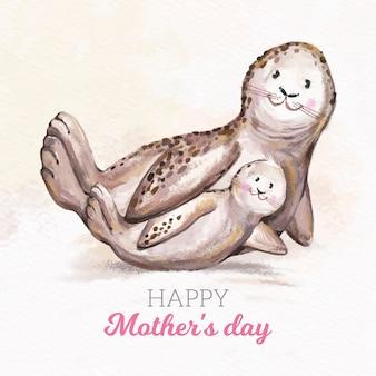 Акварельный дизайн день матери