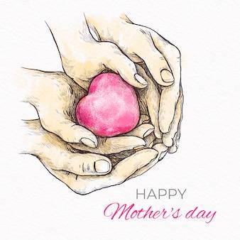 День матери рисованной стиль