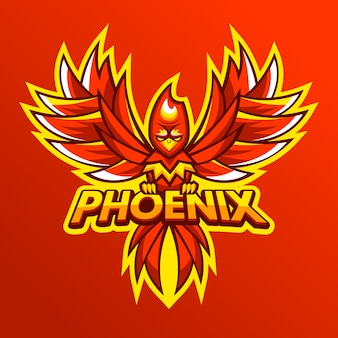 Феникс логотип рисованной дизайн