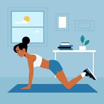 Женщина тренируется дома одна