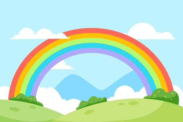 フラットなデザインのカラフルな虹の風景