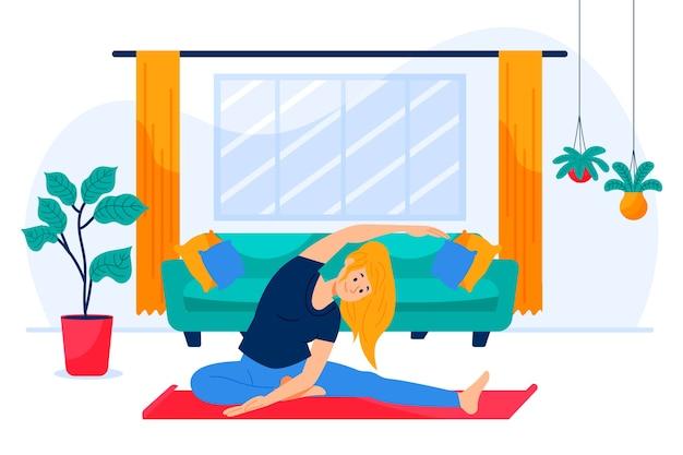 女性一人で自宅でトレーニングのイラスト