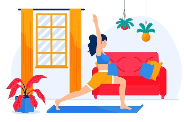 一人で自宅で運動している女性のイラスト
