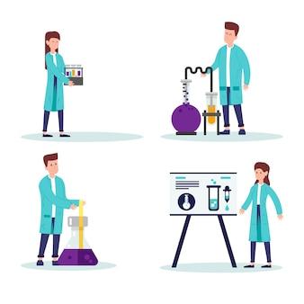 Ученые, работающие в иллюстрированном наборе