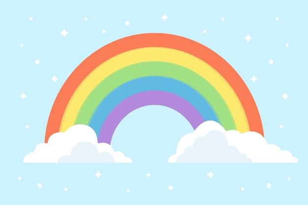 フラットなデザインの抽象的な明るい虹