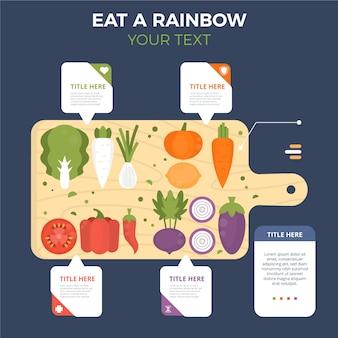 Ешьте радугу инфографики концепции