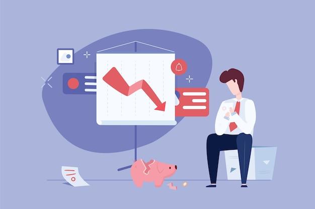 Плоская концепция банкротства в плоском дизайне