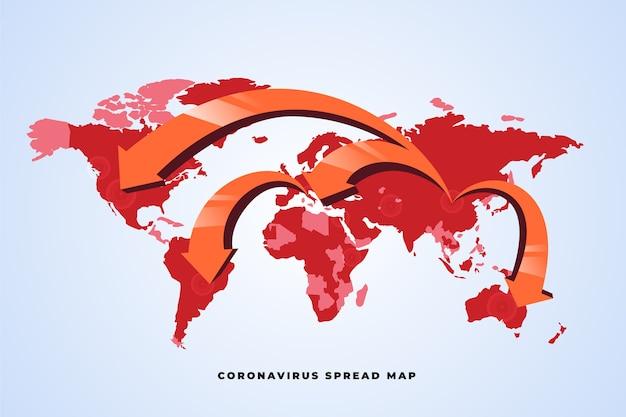 世界地図の周りのコロナウイルスのパンデミック