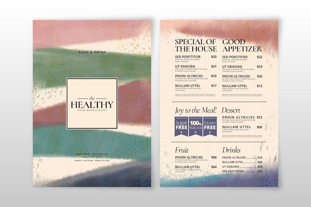 水彩デザインの健康食品メニュー