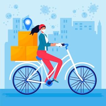 自転車の配達サービスの女性