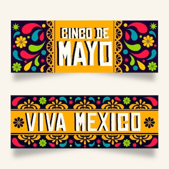 Синко де майо баннеры плоский дизайн